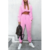 Lovely Casual Hooded Collar Crop Top Pink Two-piec