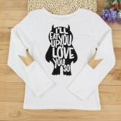 Lovely Family Letter Printed White Mother T-shirt