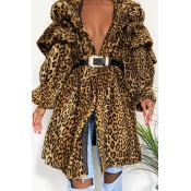 Lovely Trendy Loose Leopard Printed Coat(Without B
