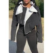 Lovely Trendy Zipper Design Black Jacket