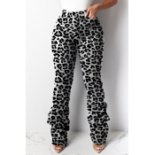 Lovely Casual Leopard Printed Grey Pants