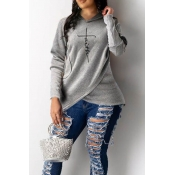 Lovely Trendy Hoodie Hooded-Collar Letter Print As