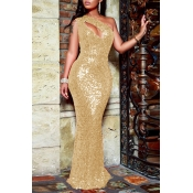 Lovely Party One Shoulder Hollow-out Gold Floor Le
