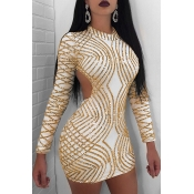 Lovely Party Backless Gold Mini Prom Dress