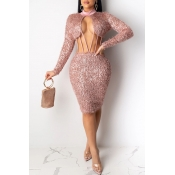 Lovely Sexy Hollow-out Pink Knee Length Dress