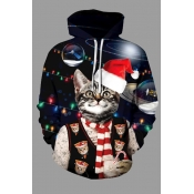 Lovely Christmas Day Cat Printed Black Plus Size H