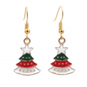 Lovely Christmas Day Red Metal Earring