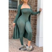 Lovely Sexy Basic Skinny Green Two-piece Pants Set