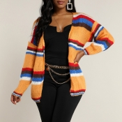 Lovely Casual Striped Orange Cardigan