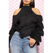 Lovely Casual Dew Shoulder Black Sweater