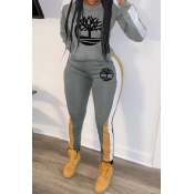Lovely Casual Hooded Collar Printed Grey Two-piece Pants Set