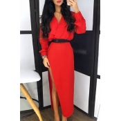 Lovely Chic Side High Slit Red Ankle Length Dress