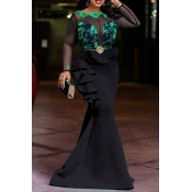 Lovely Party Patchwork Flounce Black Floor Length Prom Dress