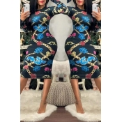 Lovely Casual Printed Skinny Blue Knee Length Dres