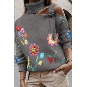 Lovely Casual Embroidered Design Grey Sweater