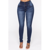 Lovely Casual Buttons Design Deep Blue Jeans