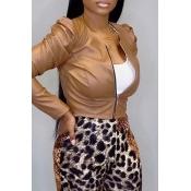 Lovely Work Zipper Design Brown Coat