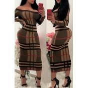 Lovely Trendy Skinny Printed Brown Mid Calf Dress