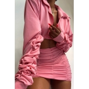 Lovely Street Ruffle Design Pink Two-piece Skirt S