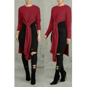 Lovely Casual Knot Design Purplish Red Sweater