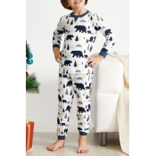 Lovely Family Printed White Kids Two-piece Pants S