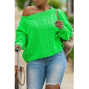 Lovely Casual O Neck Basic Green Sweater