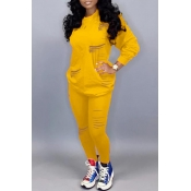 Lovely Casual Hollow-out Yellow Two-piece Pants Set