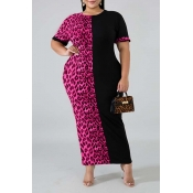 Lovely Casual Patchwork Rose Red Ankle Length Plus Size Dress