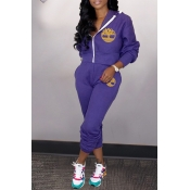 Lovely Casual Hooded Collar Purple Two-piece Pants