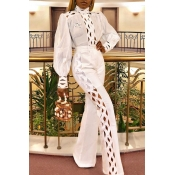 Lovely Trendy Hollow-out White One-piece Jumpsuit