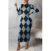 Lovely Trendy Grid Printed Blue Ankle Length Dress