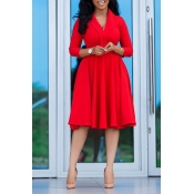 Lovely Leisure V Neck Red Knee Length Dress