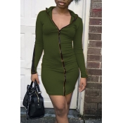 Lovely Casual Zipper Design Army Green Mini Dress