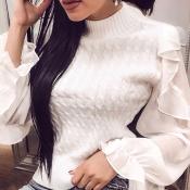 Lovely Sweet Flounce Design White Sweater