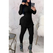 Lovely Casual V Neck Basic Black Two-piece Pants Set