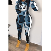 Lovely Casual Hooded Collar Camouflage Printed Blu
