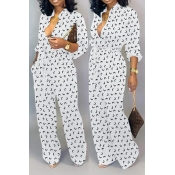 Lovely Leisure Printed Loose White One-piece Jumps