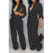 Lovely Leisure Printed Loose Black One-piece Jumps