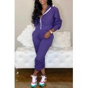 Lovely Casual Zipper Design Purple Two-piece Pants