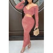 Lovely Trendy V Neck Skinny Pink Two-piece Skirt Set
