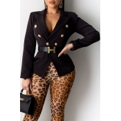 Lovely Casual  Buttons Design Black Blazer