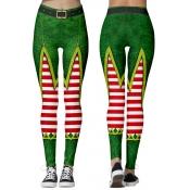 Lovely Christmas Day Printed Skinny Green Leggings