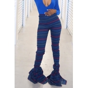 Lovely Casual Striped Printed Flounce Blue Pants