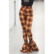 Lovely Casual Plaid Printed Yellow Pants