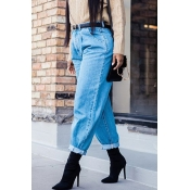 Lovely Casual Loose Basic Baby Blue Jeans