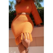 Lovely Casual Flounce Design Orange Two-piece Skir