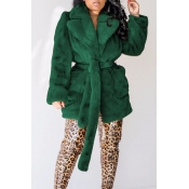 Lovely Winter Basic Lace-up Blackish Green Coat