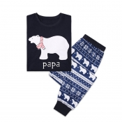 Lovely Family Bear Printed Dark Blue Father Two-pi