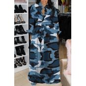 Lovely Casual Turndown Collar Camouflage Printed Baby Blue Floor Length Dress