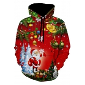 Lovely Christmas Day Hooded Collar Red Hoodie